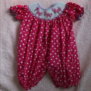 Pink Horse Smocked Bubble